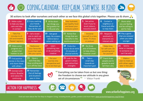 Colorful calendar from Action for Happiness with daily tips for how to cope with this public health crisis